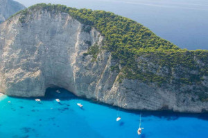 An aerial view of Navagio beach in Zakynthos, Greece.